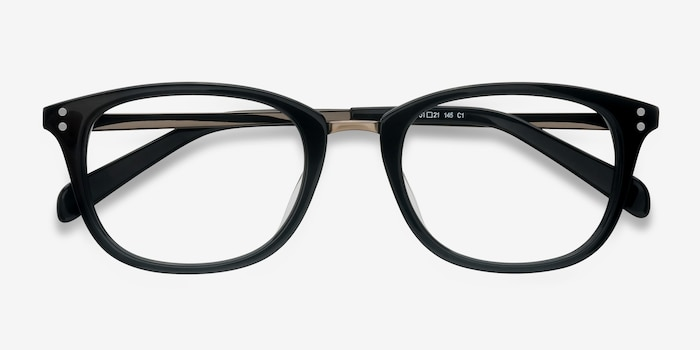 Synopsis Black Acetate Eyeglass Frames from EyeBuyDirect, Closed View