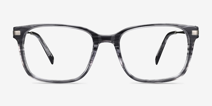 Motion Gray Striped Metal Eyeglass Frames from EyeBuyDirect, Front View
