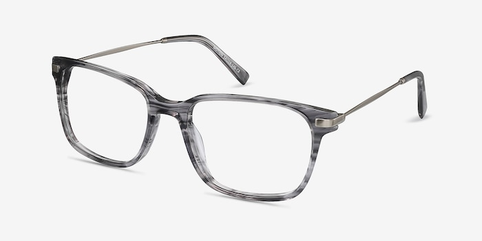 Motion Gray Striped Metal Eyeglass Frames from EyeBuyDirect, Angle View