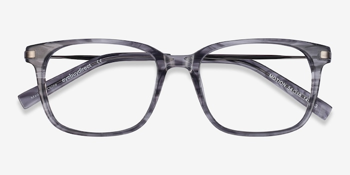 Motion Gray Striped Metal Eyeglass Frames from EyeBuyDirect, Closed View