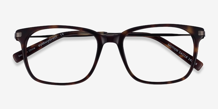 Motion Tortoise Acetate Eyeglass Frames from EyeBuyDirect, Closed View