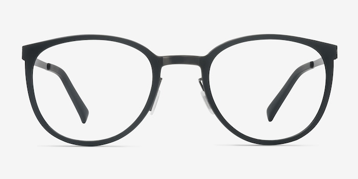 Alpha Black Acetate Eyeglass Frames from EyeBuyDirect, Front View