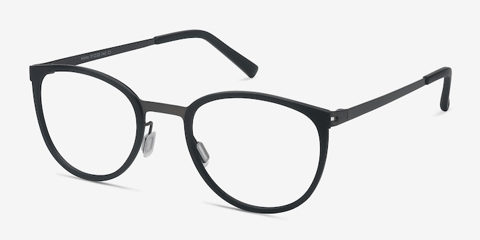 Alpha Black Acetate Eyeglass Frames from EyeBuyDirect, Angle View
