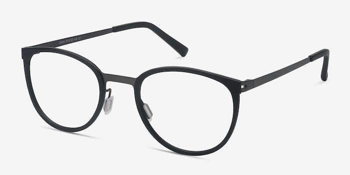 Alpha Noir Acétate Montures de Lunettes d'EyeBuyDirect, Vue d'Angle