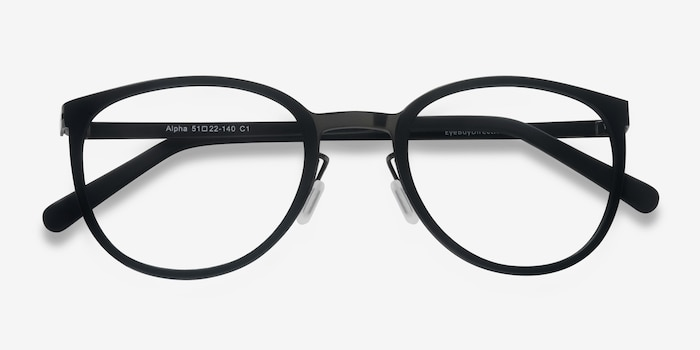 Alpha Black Acetate Eyeglass Frames from EyeBuyDirect, Closed View