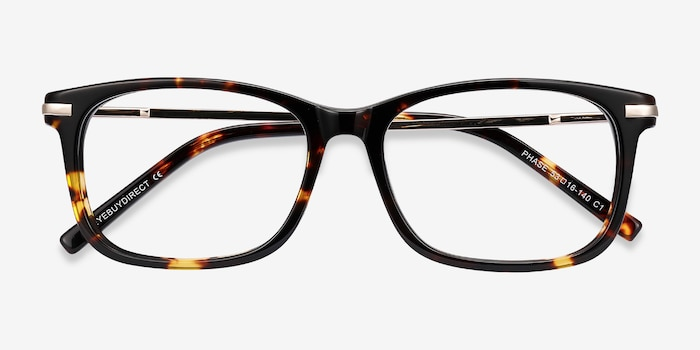 Phase Tortoise Metal Eyeglass Frames from EyeBuyDirect, Closed View