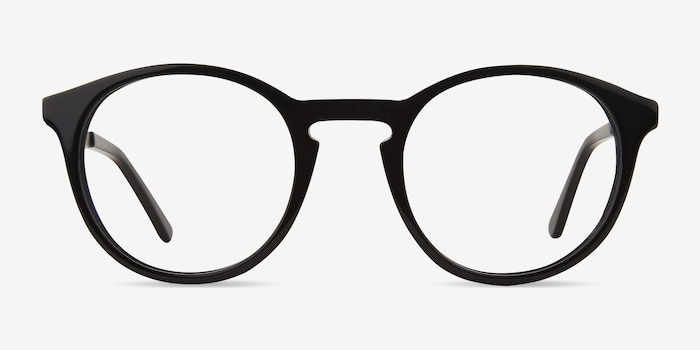 White Moon Black Acetate Eyeglass Frames from EyeBuyDirect, Front View