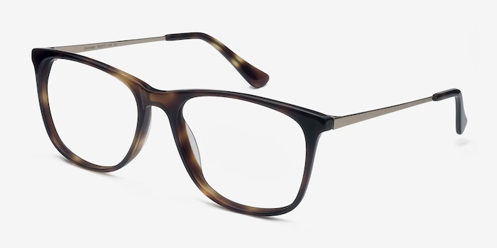 Contrast Tortoise Acetate Eyeglass Frames from EyeBuyDirect, Angle View