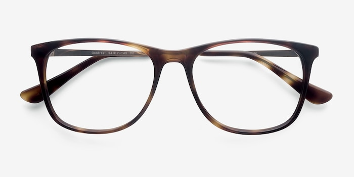 Contrast Tortoise Acetate Eyeglass Frames from EyeBuyDirect, Closed View