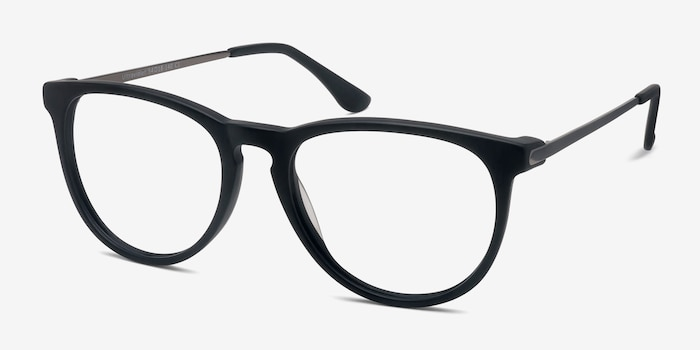 Ultraviolet Matte Black Acetate Eyeglass Frames from EyeBuyDirect, Angle View
