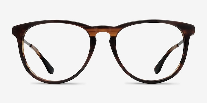 Ultraviolet Brown Striped Metal Eyeglass Frames from EyeBuyDirect, Front View
