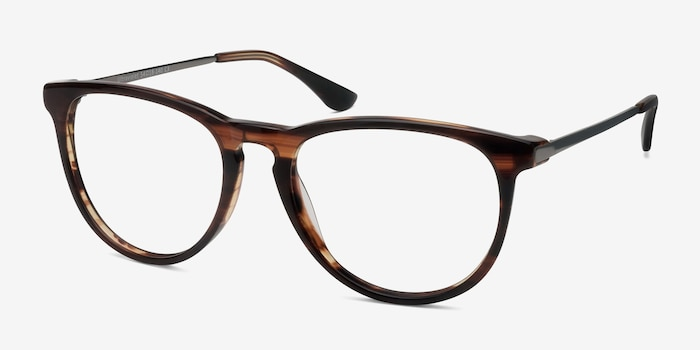 Ultraviolet Brown Striped Metal Eyeglass Frames from EyeBuyDirect, Angle View