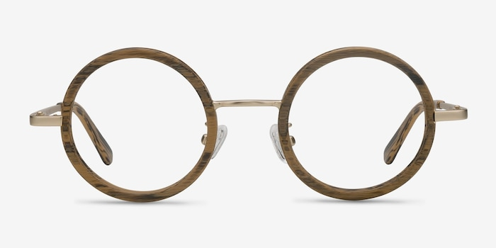 Roaring Brown Wood-texture Eyeglass Frames from EyeBuyDirect, Front View