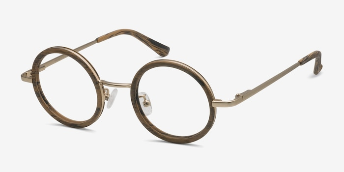 Roaring Brown Metal Eyeglass Frames from EyeBuyDirect, Angle View