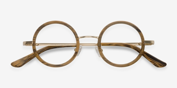 Roaring Brown Wood-texture Eyeglass Frames from EyeBuyDirect, Closed View