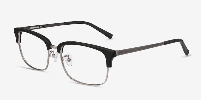 Wizard Black Metal Eyeglass Frames from EyeBuyDirect, Angle View