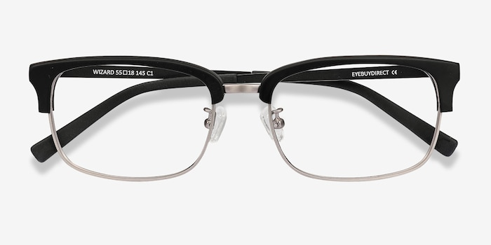 Wizard Black Metal Eyeglass Frames from EyeBuyDirect, Closed View