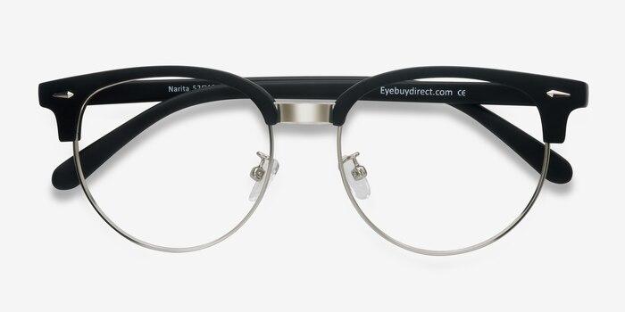 Narita Matte Black Metal Eyeglass Frames from EyeBuyDirect, Closed View