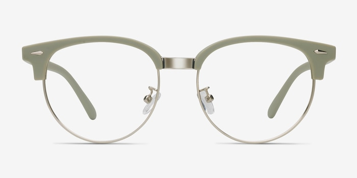 Narita Light Green Metal Eyeglass Frames from EyeBuyDirect, Front View