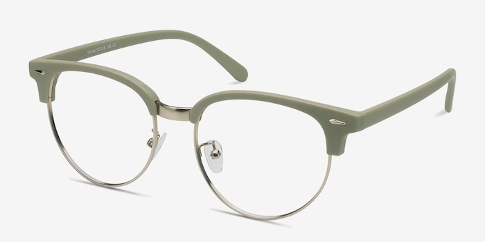 Narita Light Green Metal Eyeglass Frames from EyeBuyDirect, Angle View