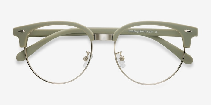 Narita Light Green Metal Eyeglass Frames from EyeBuyDirect, Closed View