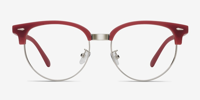 Narita Red Metal Eyeglass Frames from EyeBuyDirect, Front View
