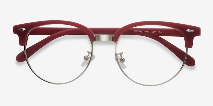 Narita Red Metal Eyeglass Frames from EyeBuyDirect, Closed View