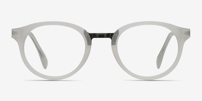 Aisu Matte White Metal Eyeglass Frames from EyeBuyDirect, Front View