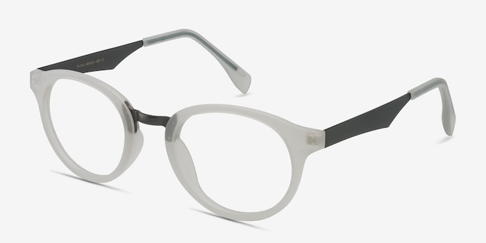 Aisu Matte White Metal Eyeglass Frames from EyeBuyDirect, Angle View