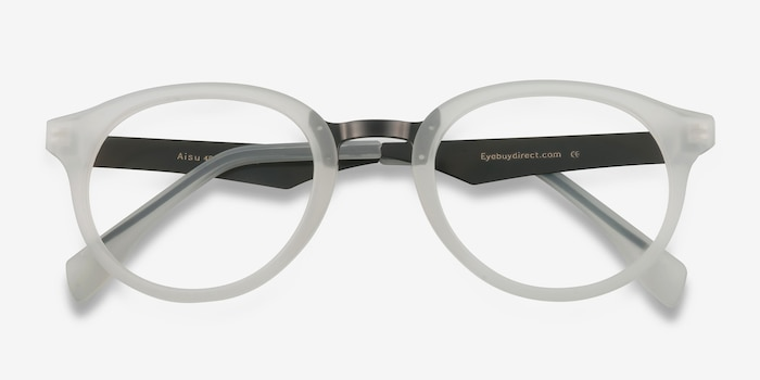 Aisu Matte White Metal Eyeglass Frames from EyeBuyDirect, Closed View