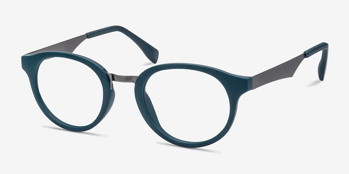 Aisu Matte Green Metal Eyeglass Frames from EyeBuyDirect, Angle View