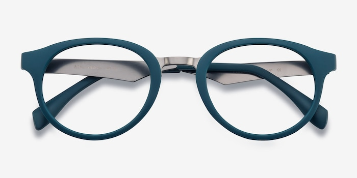 Aisu Matte Green Metal Eyeglass Frames from EyeBuyDirect, Closed View