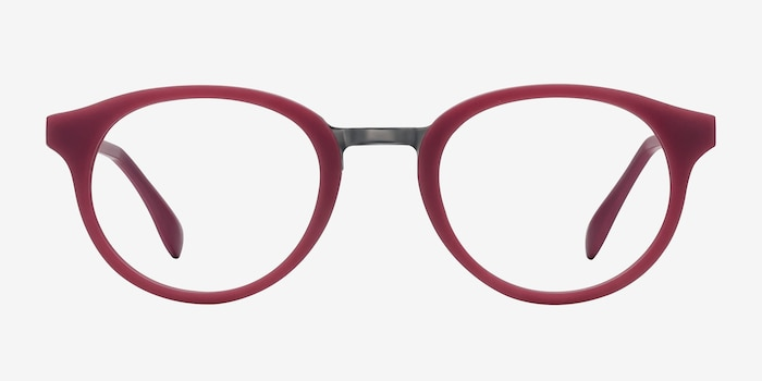 Aisu Matte Burgundy Metal Eyeglass Frames from EyeBuyDirect, Front View