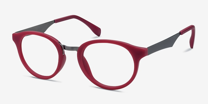 Aisu Matte Burgundy Metal Eyeglass Frames from EyeBuyDirect, Angle View