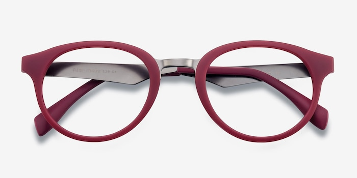Aisu Matte Burgundy Metal Eyeglass Frames from EyeBuyDirect, Closed View
