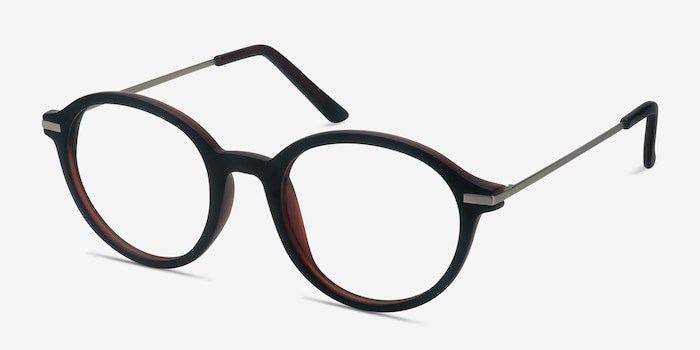 Juno Matte Brown Metal Eyeglass Frames from EyeBuyDirect, Angle View