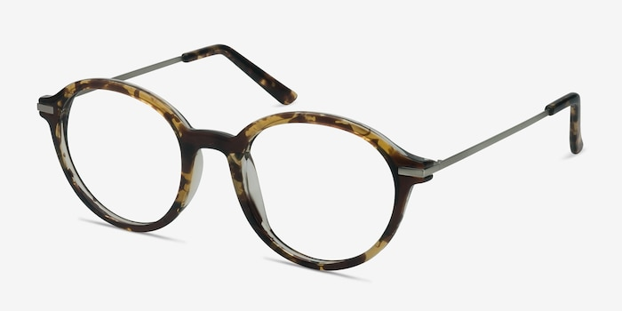 Juno Tortoise Metal Eyeglass Frames from EyeBuyDirect, Angle View