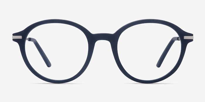Juno Matte Navy Metal Eyeglass Frames from EyeBuyDirect, Front View