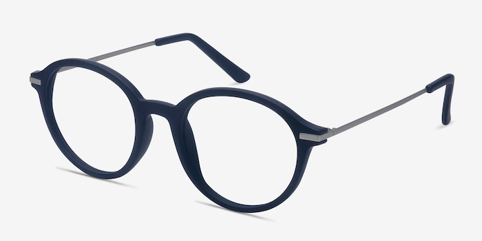 Juno Matte Navy Metal Eyeglass Frames from EyeBuyDirect, Angle View