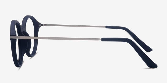 Juno Matte Navy Metal Eyeglass Frames from EyeBuyDirect, Side View
