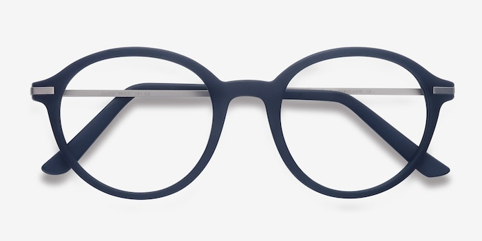 Juno Matte Navy Metal Eyeglass Frames from EyeBuyDirect, Closed View