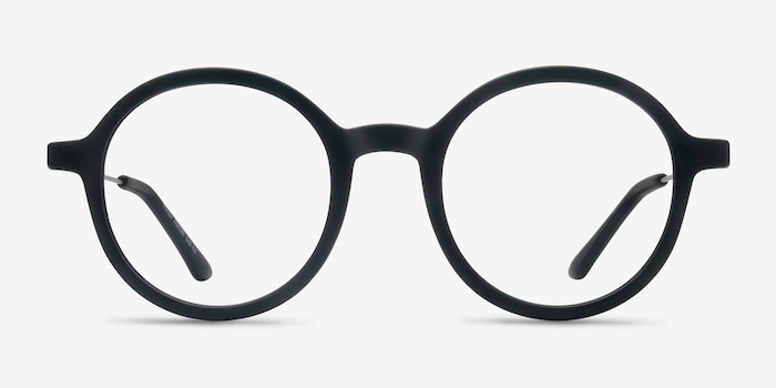 Potter Matte Black Metal Eyeglass Frames from EyeBuyDirect, Front View