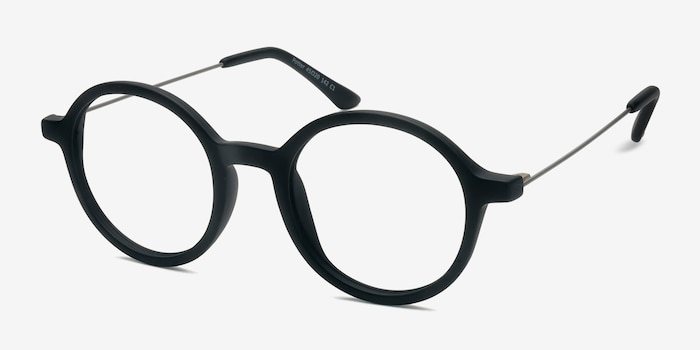 Potter Matte Black Metal Eyeglass Frames from EyeBuyDirect, Angle View
