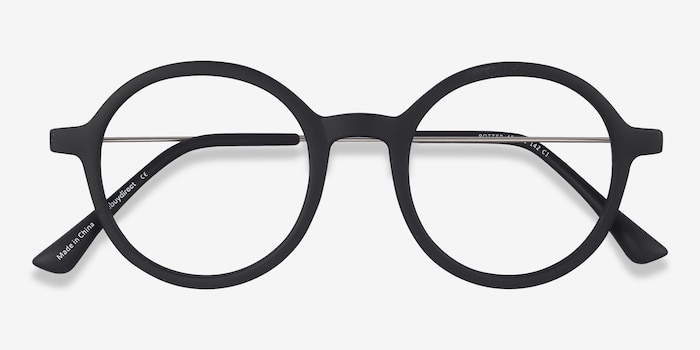 Potter Matte Black Metal Eyeglass Frames from EyeBuyDirect, Closed View