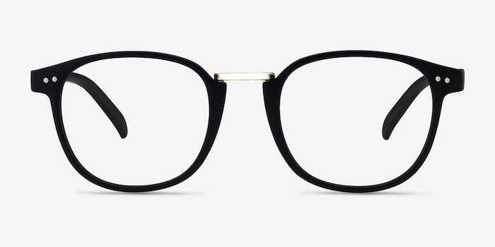 Miyoshi Matte Black Metal Eyeglass Frames from EyeBuyDirect, Front View