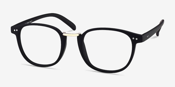 Miyoshi Matte Black Metal Eyeglass Frames from EyeBuyDirect, Angle View