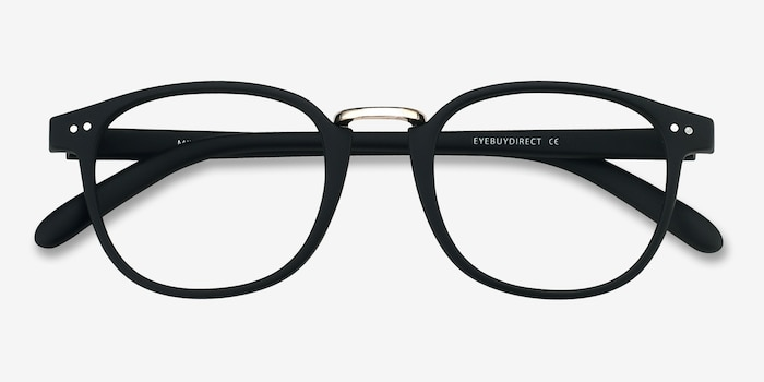 Miyoshi Matte Black Metal Eyeglass Frames from EyeBuyDirect, Closed View