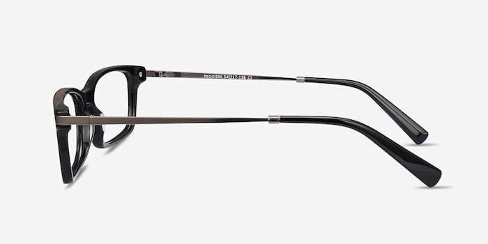 Requiem Black Acetate Eyeglass Frames from EyeBuyDirect, Side View