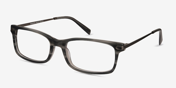 Requiem Gray Striped Metal Eyeglass Frames from EyeBuyDirect, Angle View