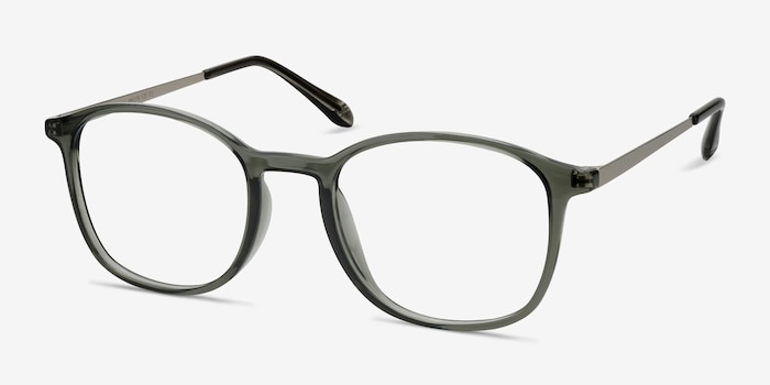 Civilization  Gray  Metal Eyeglass Frames from EyeBuyDirect, Angle View
